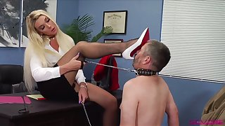 The fact that she has a personal oral slave turns this shemale boss on