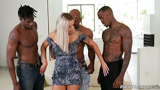 Sex-starved busty milf Nina Elle is fucked by several big black fellows