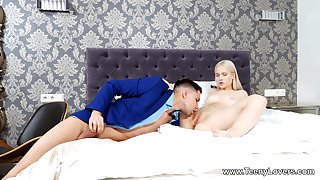 Petite with small tits, erotic tryout with her step brother
