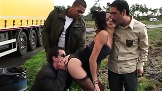 Sophie banged by few truckers on a parking
