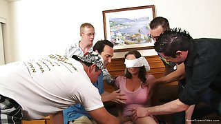 Slutty blindfolded wife surptised with a massive gangbang on a bed