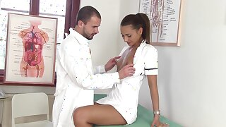 Sexy nurse Alexis Brill kisses her doctor and gives super duper good BJ