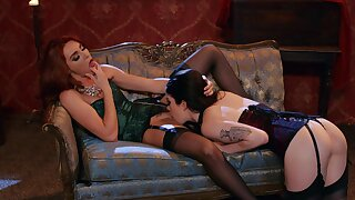 Lingerie-clad lesbians Lacy Lennon and Evelyn Claire are on fire
