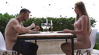 Young blonde gagged during romantic date and made to fuck like a goddess