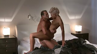 Slim blonde with insane curves, amazing cock riding