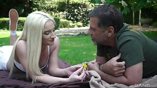 Out in the park, vivacious blonde Angela Vital makes an older guy's day