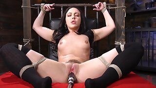 Naughty solo model Whitney Wright spreads her legs close by ride a machine