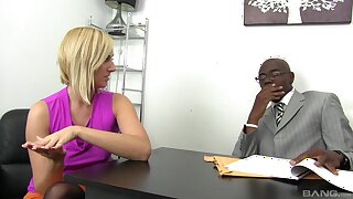 A marvelous interracial at the office after this blonde strips