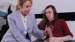 Dolour Erica Lauren makes a habitation allure for a younger guy