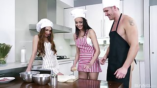 Kitchen threesome with Francys Belle and Zoe Doll pounded hardcore