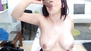 Pretty Good Big Boobs Cammodel Stokes Her Freshly Fucked Pussy To Squirt