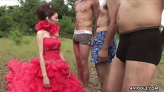 Hot Japanese babe has a desire to suck one dick after another outdoors