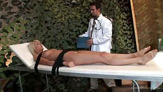 Emotional fixed with belts whore Jasmine Rouge is mouthfucked by doctor